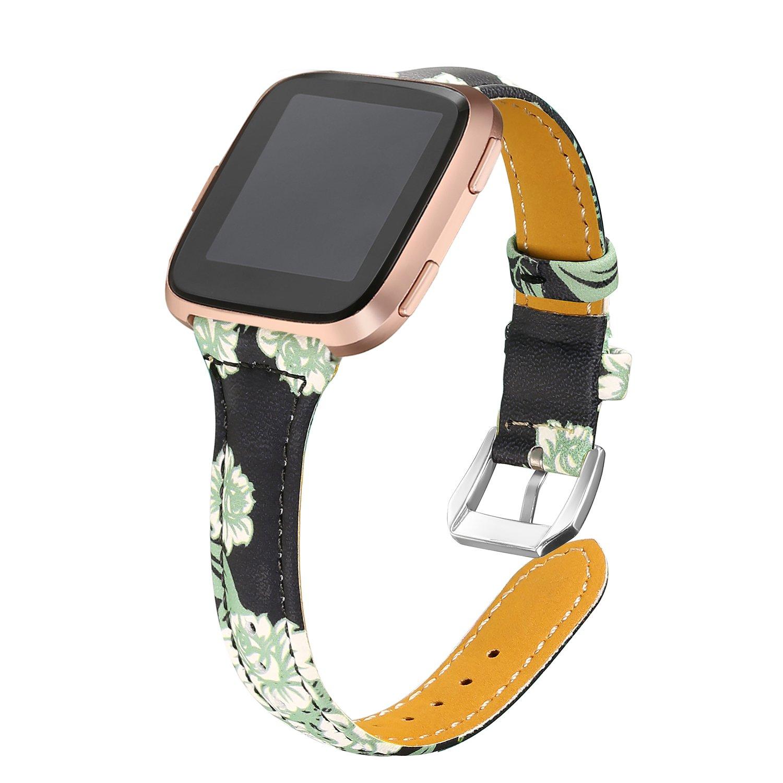 bayiteバンドfor Fitbit Versa、スリム本革バンド交換用アクセサリーストラップ、Versaレディースメンズ B07FSLXJLM フラワー2 5.3\