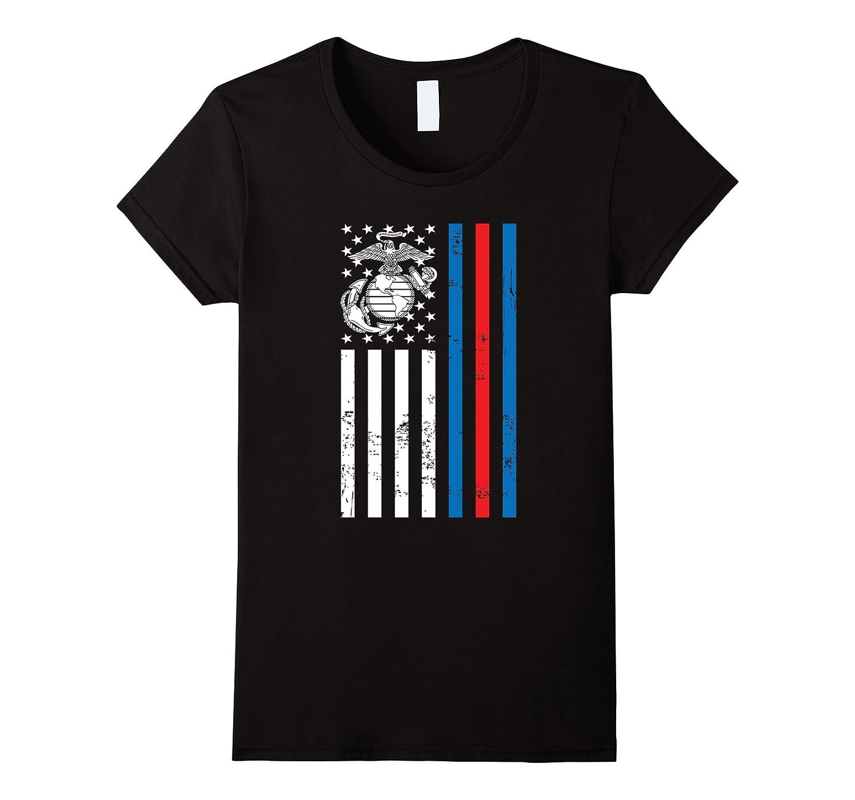 American Flag Blue Red Line Marine T-Shirt
