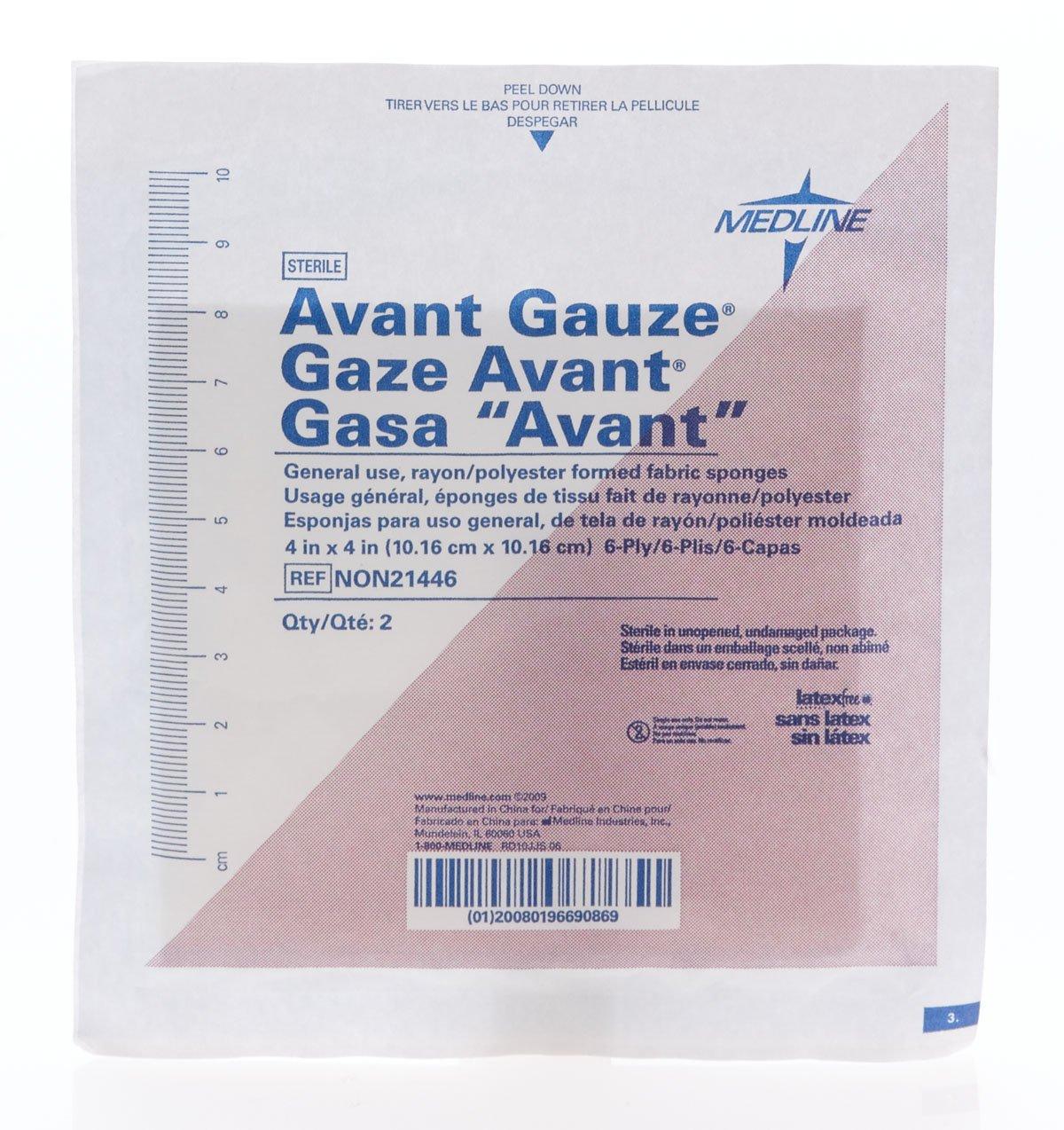 Medline NON21446 Avant Gauze Non-Woven Sterile Sponge, Latex Free, 4'' x 4'', 6-Ply (Pack of 600) by Medline