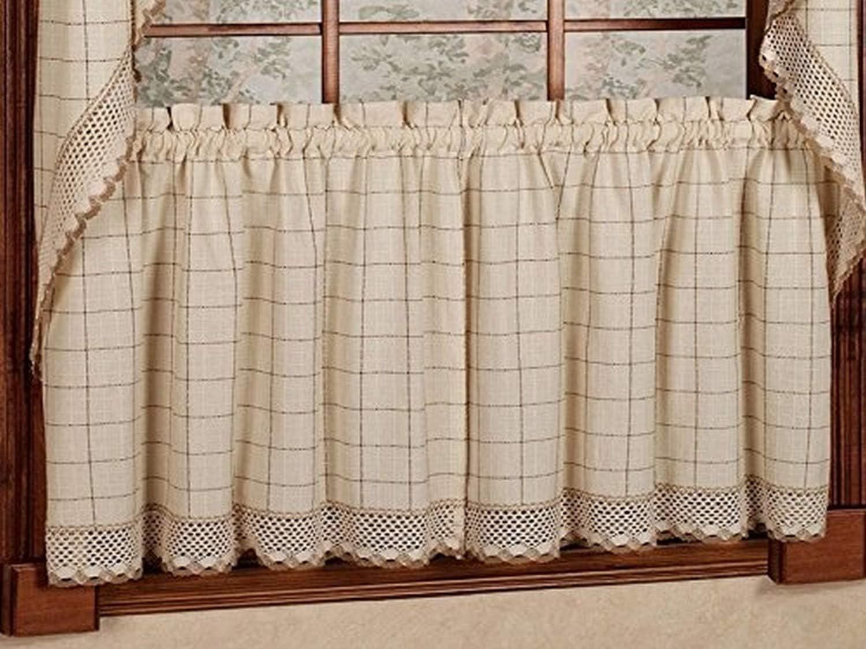 "Sweet Home Collection Adirondack Cotton Kitchen Window Curtains Pair, 24"" Tier, Toast"