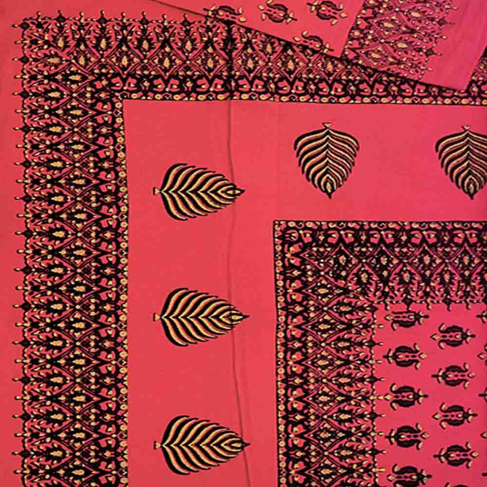 Little India Barmeri Gold Print Cotton Double Bed Sheet Set 321