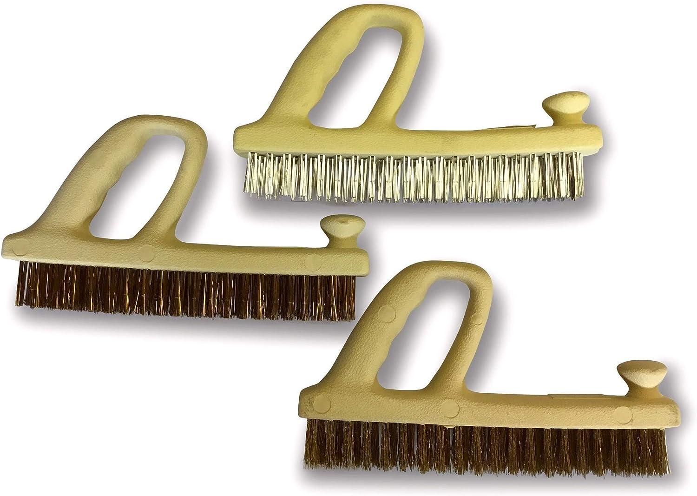 1 brosse acier souple laitonn/é Kibros 3LOTRAB Prise en main ergonomique 1 brosse inox 1 brosse acier tremp/é Sp/éciale grandes surfaces Lot de 3 brosses rabot