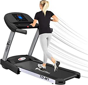 PowerMax Fitness TD-M1 (4HP Peak) 100% Pre-installed Motorized Plug And Run Treadmill with 3-year motor warranty, With Android & iOS App, Home Use - Foldable & Semi Automatic Lubrication