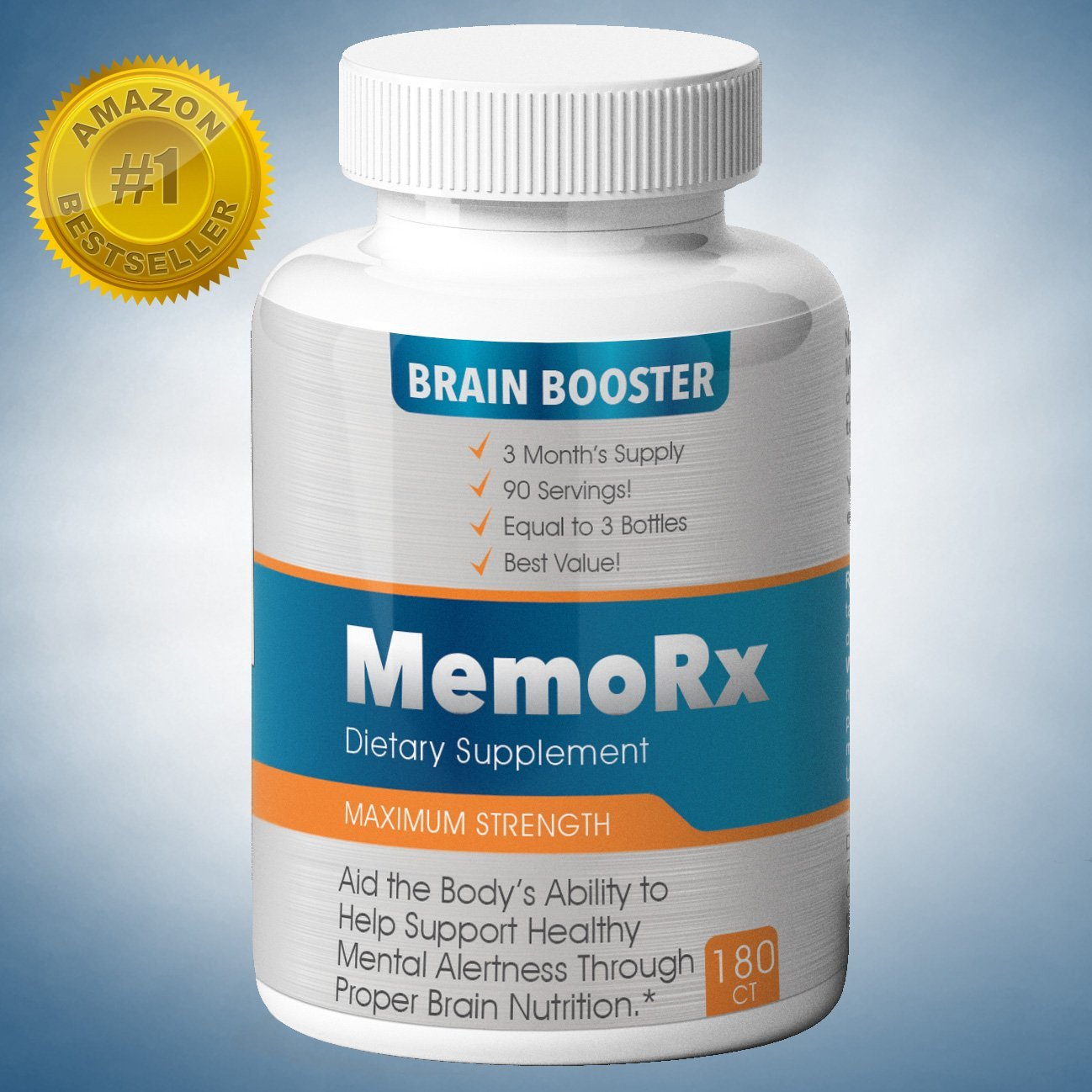 MemoRx Brain Booster 3 Month Supply [Best Value] 100 mg Bacopa Extract 10 mg Ginko Biloba Leaf Extract 100 mg DMAE 100 mg Asian Ginseng Root 100 mg L-Glutamine 10 mg Vinpocetine 200 mcg Huperzine A