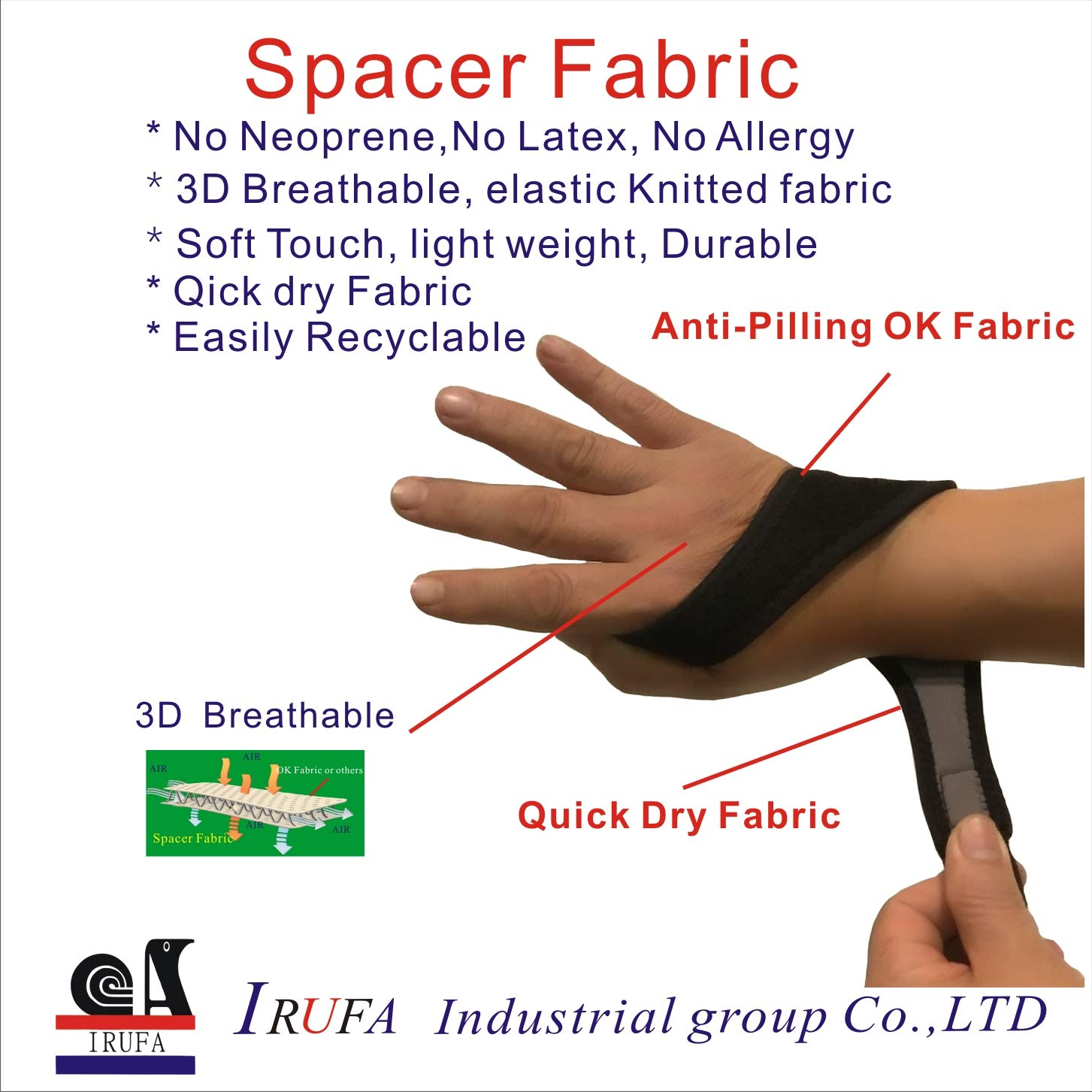 IRUFA,WR-OS-17,3D Breathable Spacer Fabric Wrist Brace, for TFCC Tear- Triangular Fibrocartilage Complex Injuries, Ulnar Sided Wrist Pain, Weight Bearing Strain, One PCS (Spacer Fabric) by IRUFA (Image #6)