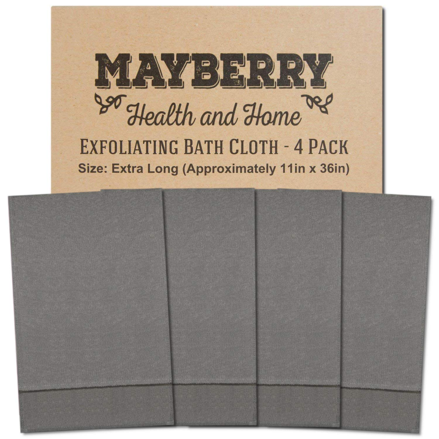 Extra Long (36 Inches) Exfoliating Bath Cloth/Towel (4 Pack) Nylon Bath Cloth/Towel, Stitching on All Sides for Added Durability (Gray)