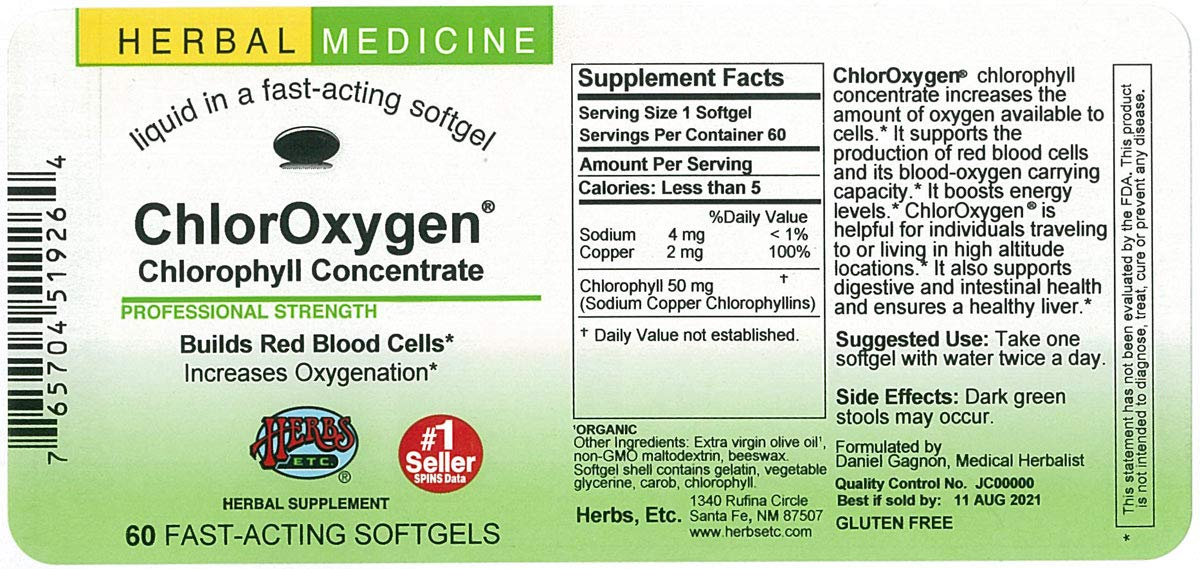 Herbs Etc. ChlorOxygen Chlorophyll Concentrate - 60 Softgels (Quantity of 3)