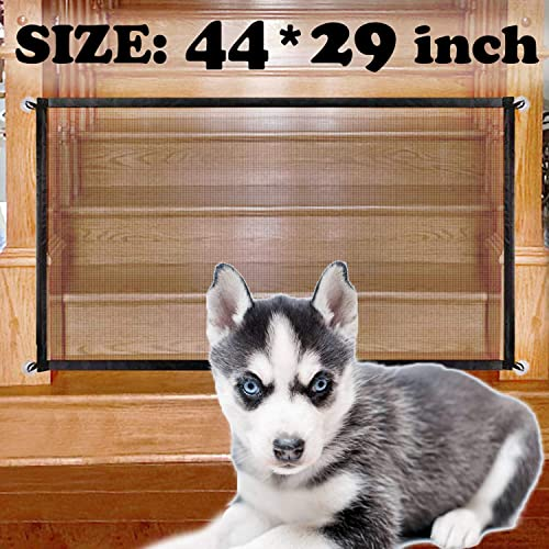 Magic Gate for Dogs, Portable Folding Mesh Magic Gate, Pet Safety Gate, Safe Guard Install Anywhere, Safety Fence for Hall Doorway 44 x 29 inch, Black