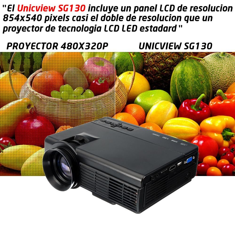 Proyector Full HD 1080P compatible, Unicview SG130, Proyectores ...