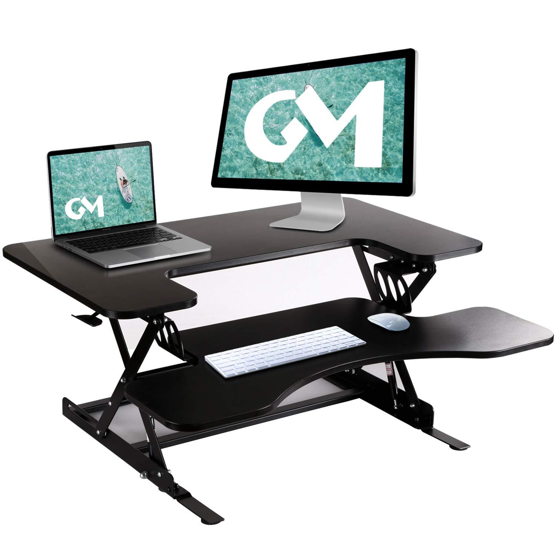 GOODMETAL Standing Desk - 36'' Height Adjustable Stand Up Desk Computer Riser, Sit Stand Desk Elevating Desktop Fits Two Monitors-Black by GOODMETAL