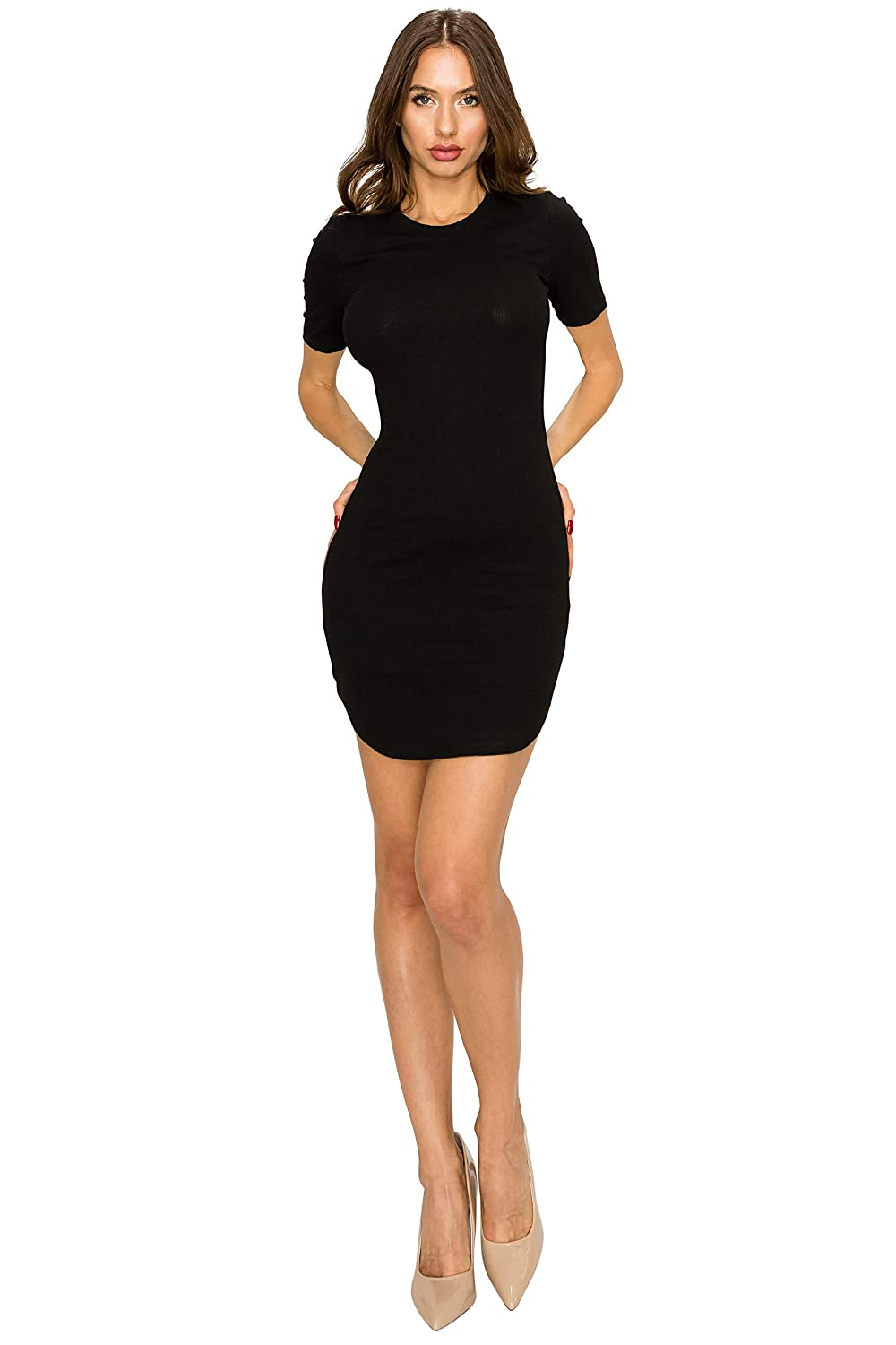 cedf27aa43d EttelLut Cocktail Sexy Club Party Dresses-Mini Rib Knit Tight Fit Women/ Juniors at Amazon Women's Clothing store: