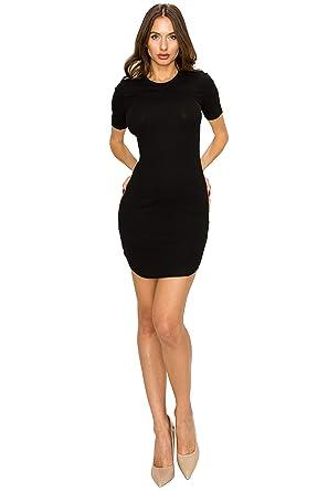 9ef6f9f344d Cocktail Sexy Club Party Dress for Women-Mini Rib Knit Tight Fit for Juniors  Black