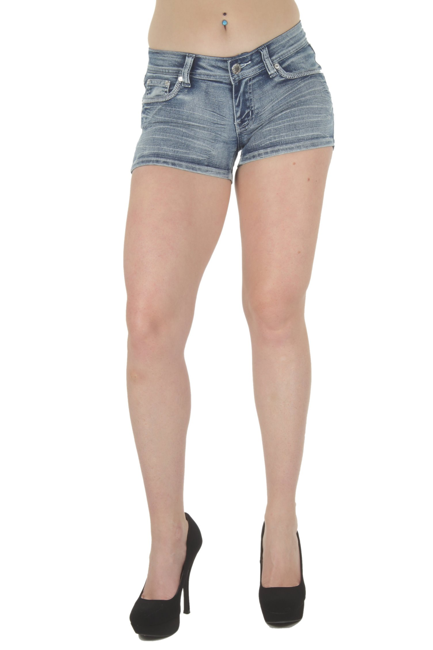 Fashion2Love F2L-35057MSH – Plus Size, Butt Lifting, Levanta Cola, Denim Booty Shorts in Washed Blue Size 16