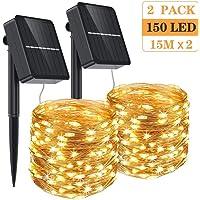 Aerb Guirnalda Luz Exterior Solar, 2 Pack Cadena de Luces 15M 150 LED, Panel Solar de 85X85mm, Impermeable Iluminación…