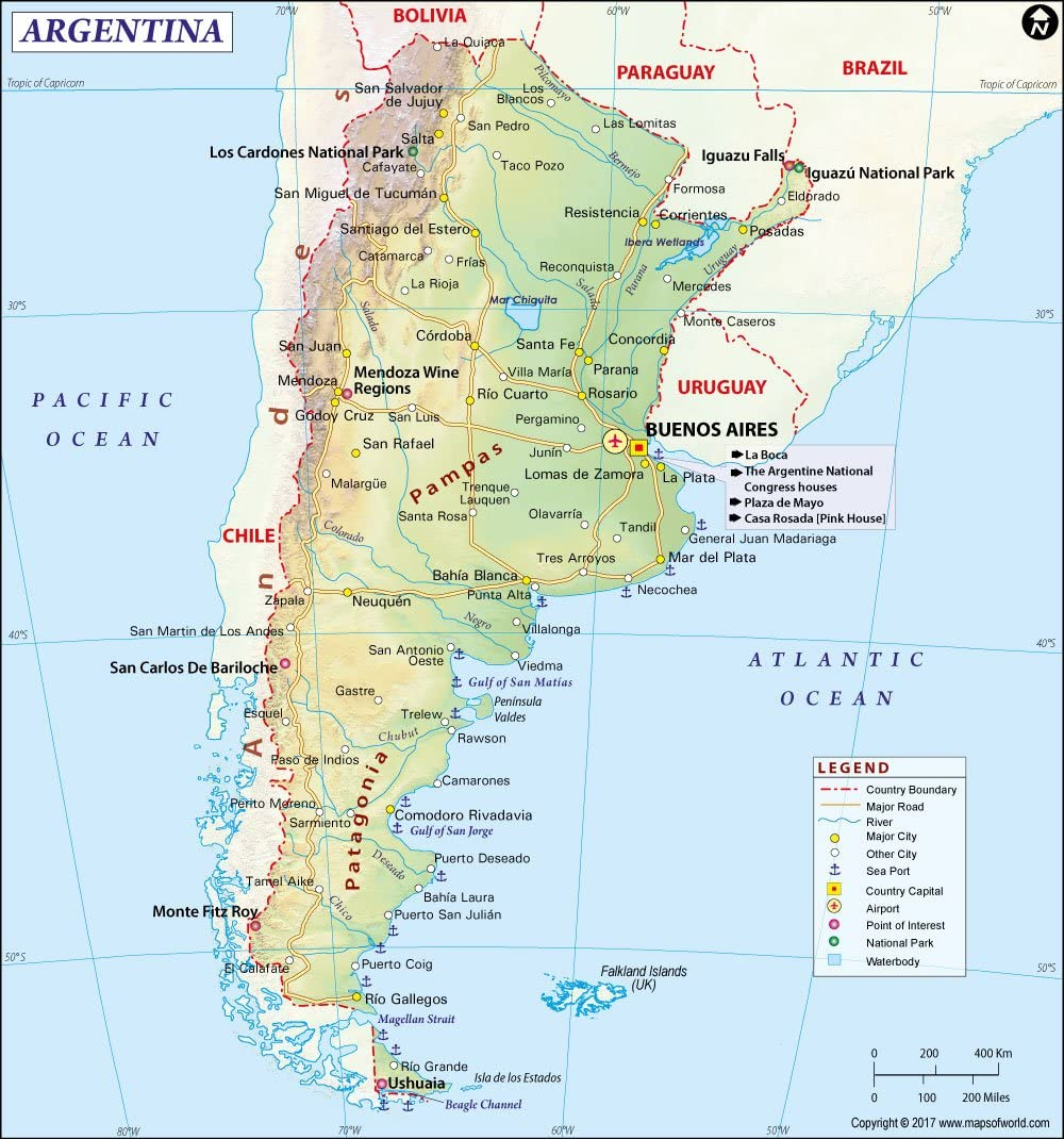 """Amazon.com : Argentina Map (36"""" W x 38.45"""" H) : Office Products"""