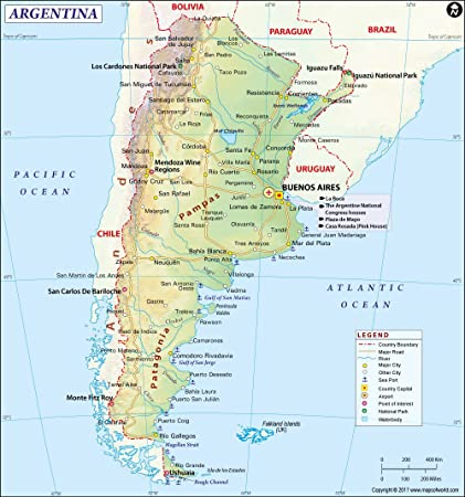 Amazon.com : Argentina Map (36