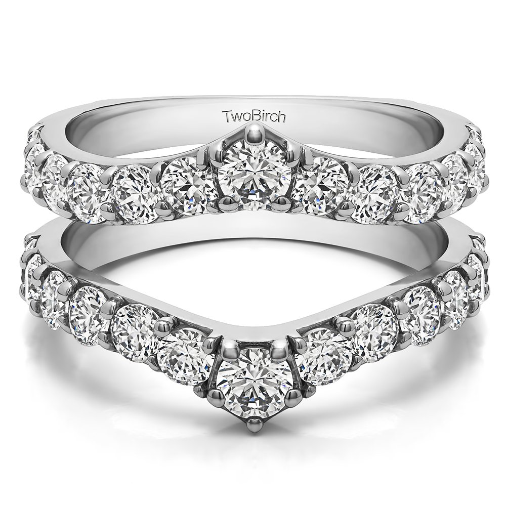 0.74 ct. Diamonds (G-H,I2-I3) Delicate Graduated Contour Ring Guard in Sterling Silver (3/4 ct. twt.)