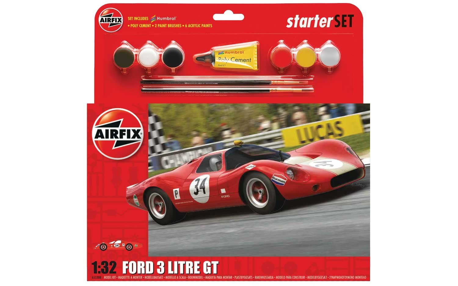 Airfix 1:32nd Scale Ford 3 Litre GT Plastic Model Large Starter Gift Set