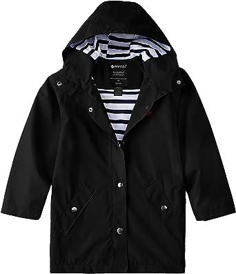 Wantdo Boys and Girls Waterproof Long Rain Jacket Lightweight Hooded Raincoat