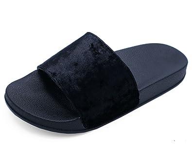 747a0ac127fbc Ladies Black Slip-On Sliders Comfy Flat Mules Flip-Flop Comfy Sandals Shoes  Sizes