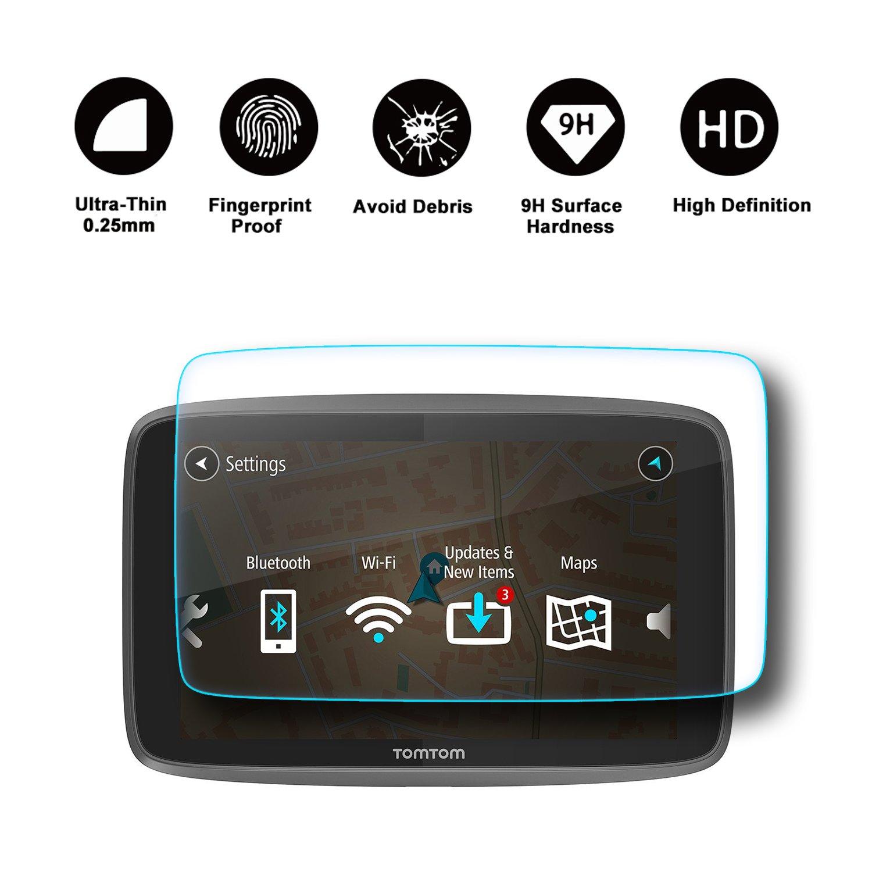 pel/ícula protectora ultra transparente【6 pulgadas】 RUIYA Protector de pantalla de vidrio templado para TomTom GO 620 6200 6250 Sistema de navegaci/ón GPS