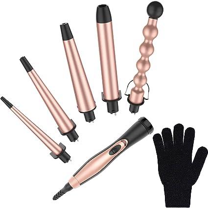 Bestope 5 en 1 rizador/rodillos Set en oro rosa con 5 barriles de turmalina