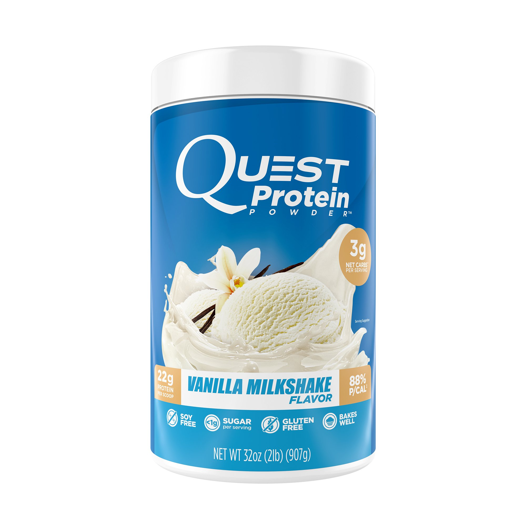 Quest Nutrition Protein Powder, Vanilla Milkshake, 22g Protein, 3g Net Carbs, 88% P/Cals, 2lb Tub, High Protein, Low Carb, Gluten Free, Soy Free, Packaging May Vary