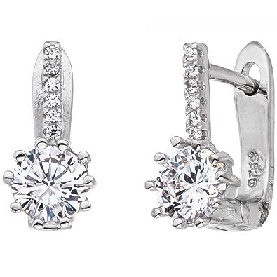 Ohrhänger Ohrringe Creolen aus 925 Silber /& Zirkonia weiß Damen Silberohrringe