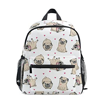 71062f5a3d94 Backpack Girls School Bag Boys Homecoming Supplies Packs Luggage Book Purse  for Toddler Children 3 4 5 6 7 8 Year Old Kids Travel White Dog Pug  ...