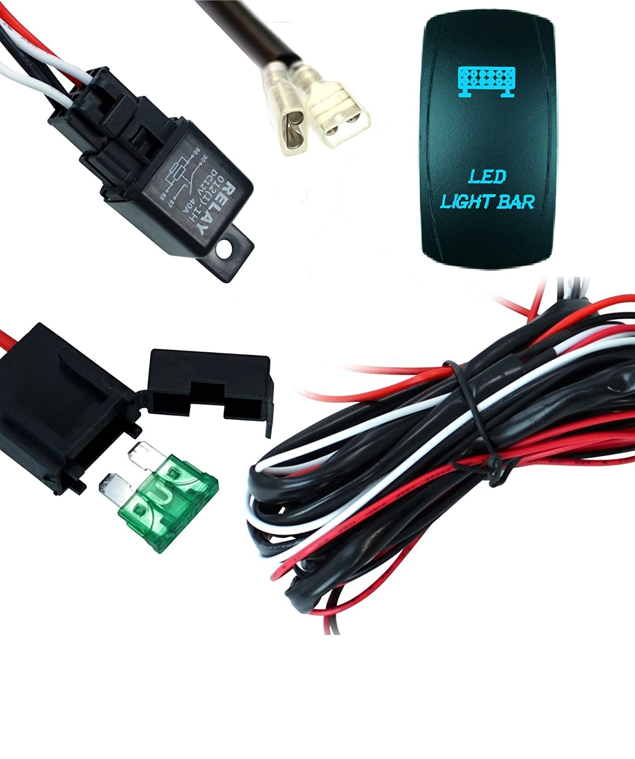 Amazon.com: STV Motorsports WIRING HARNESS KIT FOR LED WORK ... on nakamichi harness, engine harness, pet harness, battery harness, amp bypass harness, pony harness, safety harness, radio harness, obd0 to obd1 conversion harness, maxi-seal harness, fall protection harness, cable harness, dog harness, alpine stereo harness, suspension harness, electrical harness, oxygen sensor extension harness,