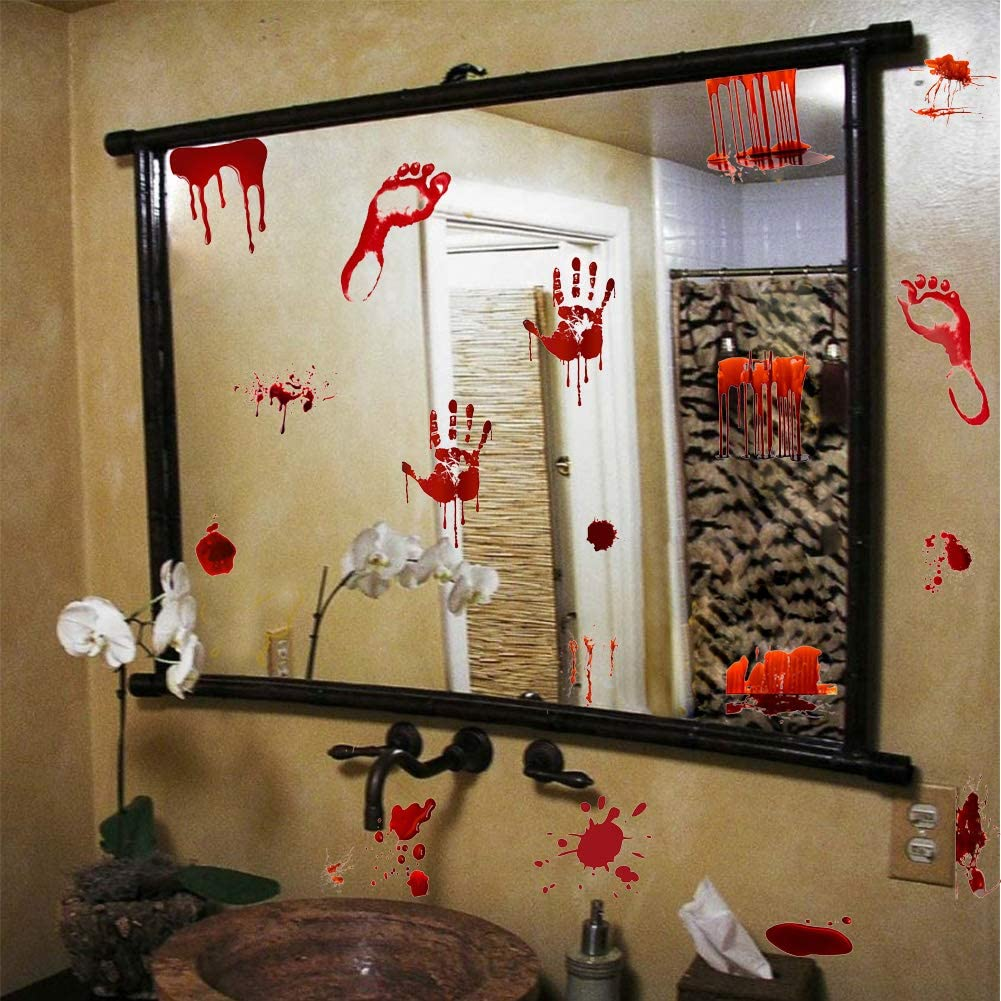 Halloween Bloody Handprint Footprint Decal Zombie Vampire Bloodstains Sticker, Screaming Bloody Decal for Bathroom Mirror Halloween Home Wall Art