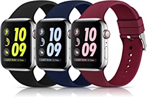3 Pack Sport Bands Compatible with Apple Watch Band 38mm 40mm 42mm 44mm, Soft Silicone Replacement Buckle Band Compatible with iWatch Series 6 5 4 3 2 1 Women Men ( Black/Navy Blue/Wine Red 38MM/40MM)