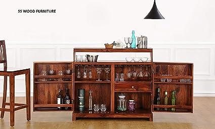 SS WOOD Furniture Bar Cabinet | Wine Rack with Glass Storage | Bar Unit for Home Decor (Sheesham Wood) (Teak Shade)