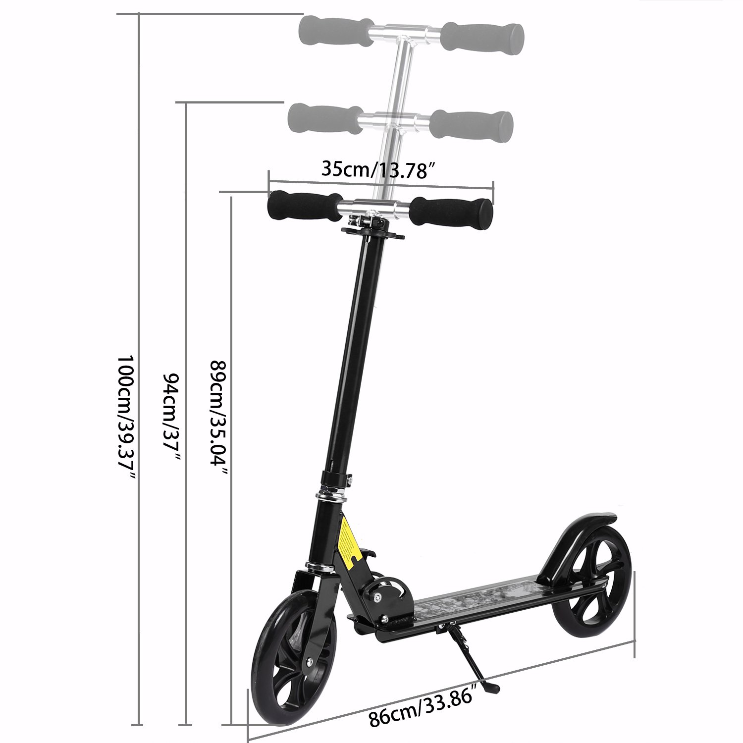 Binxin New Generation Alloy Kick Scooter for Teens Adult with 2 Large 200MM Wheels,Height Adjustable Folding Frame/Rear Mudguard, Rear ...