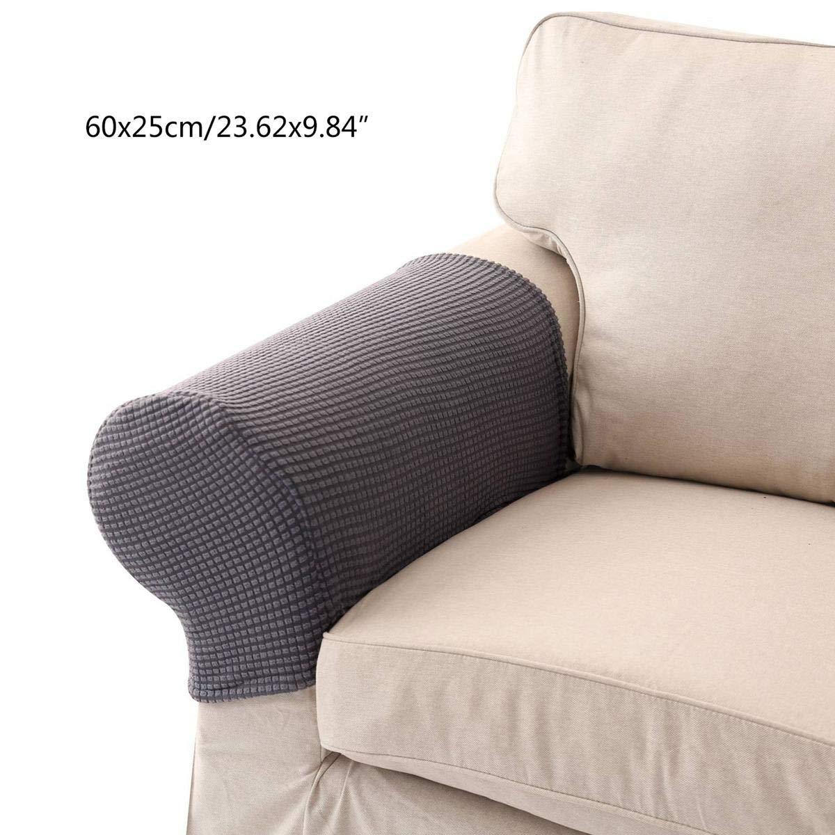 Umiwe ストレッチアームレストカバー スパンデックスポリエステルアームキャップ 2個セット アームチェア ソファ 椅子 カウチ ストレッチアームスリップカバー 家具プロテクター (1組) B07KCDQ4Z3  シルバーグレー B07KCDQ4Z3