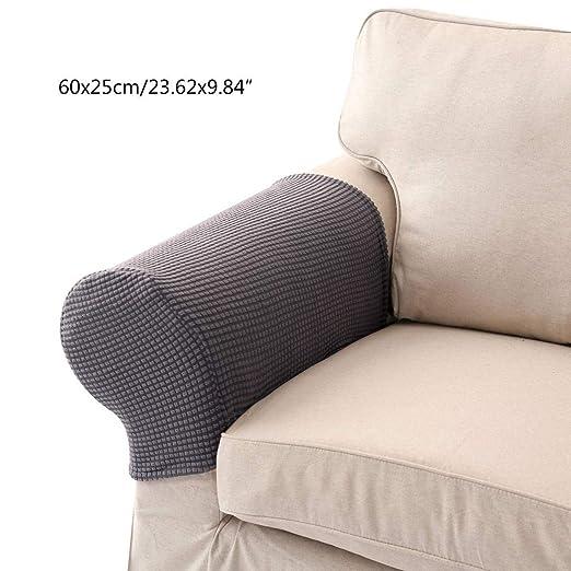Umiwe Protector de Brazo Sofá Funda para Brazo sillón rascador para Gatos Elástico Tela Cubre in Rojo marrón Beige Gris Blanco Crema Cian 1 par (Gris)