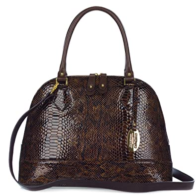 Giordano Italian Made Brown Snake Embossed Leather Structured Tote ... 7cb4eab1d9eed