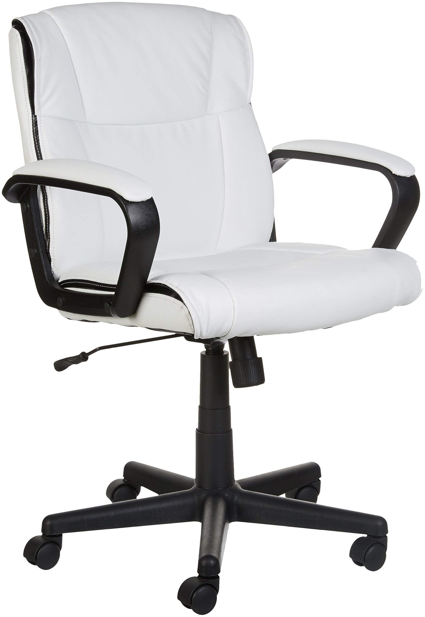 AmazonBasics Classic Leather-Padded Mid-Back Office Computer Desk Chair with Armrest - White