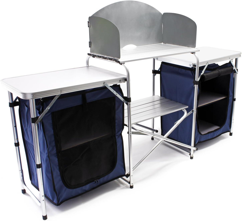 WilTec Cocina Camping Plegable 3 Superficies Trabajo portátil Paravientos Outdoor Exterior Vacaciones Campo