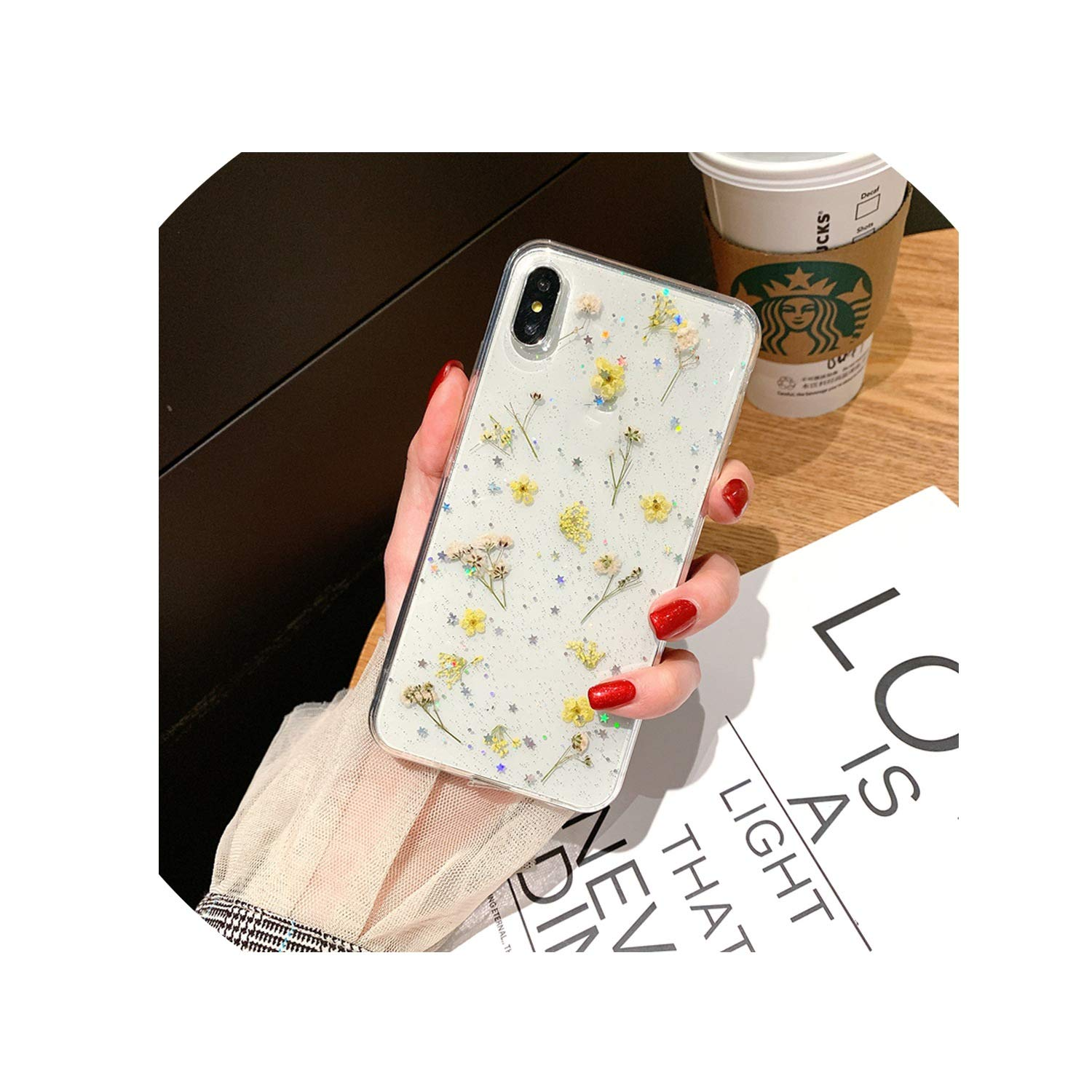 Thumb Shop Beautiful Real Pressed Flower Phone Case for iPhone Xr X Xs Max 6 6S Plus 7 8 Floral Transparent Clear Silicone Cover,C,for iPhone Xr