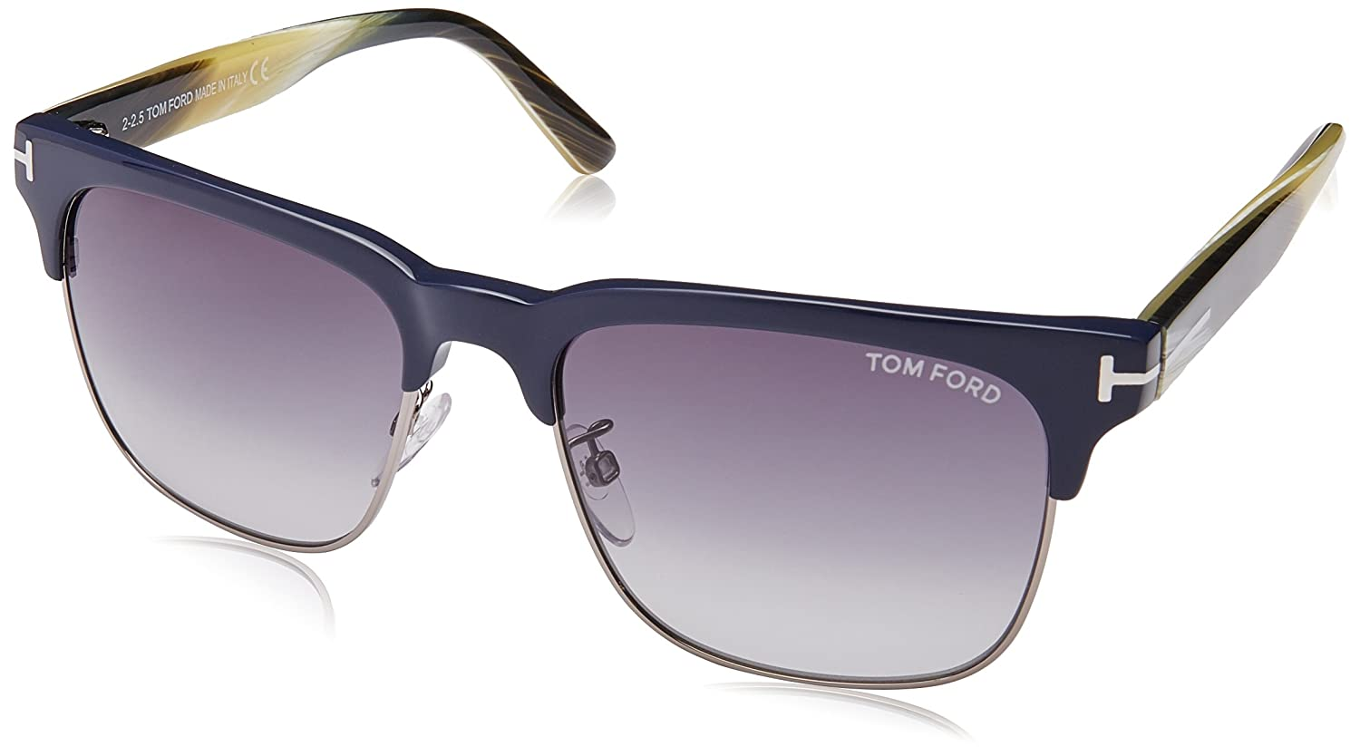 a44b369074 Tom Ford River Clubmaster Sunglasses In Matte Black   Tort Lens G ...