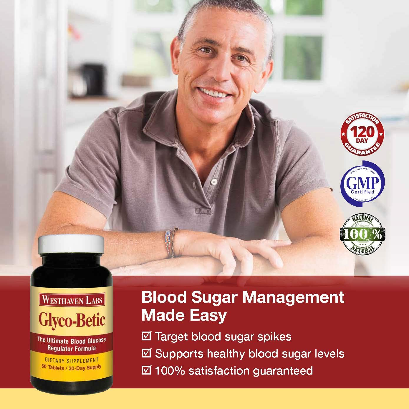 Glyco-Betic All-Natural Dietary Supplement Supports Healthy Blood Sugar Levels and addresses Blood Sugar Spikes. Promotes More Energy, Vibrant Health and Vigor. 180 Day Supply.