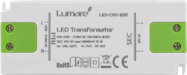 Lumare Slim LED transformadores 12 vatios CV 12 voltios (1 pieza)