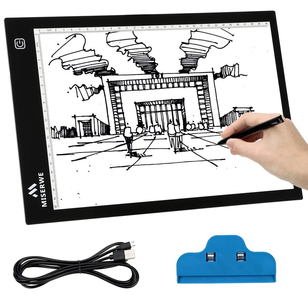 MISERWE A4ライトテーブル 4.7mm 超薄型 USB電源供給 ポータブル LEDライトボックス アートクラフト トレーシングパッド スケッチ アーティスト ドローイング アニメーション ステンシル Xレイビュー   B07QWRVPNC