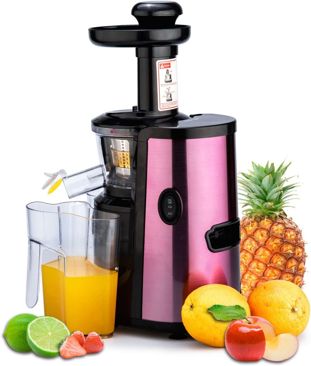 CUH Professional Slow Juicer for Highly Efficient Fruit Vegetable Juice Extraction Luxury Purple Quiet Motor, Juice Container, Pulp Container &