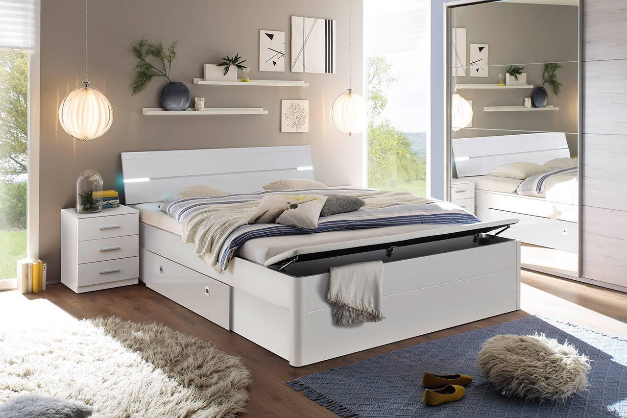lifestyle4living Bett, Bettanlage, Schlafbett, Schlafzimmerbett, Doppelbett, 180x200, weiß, Bank, Nachtschrank, Nachttisch, Schubkasten, Beleuchtung