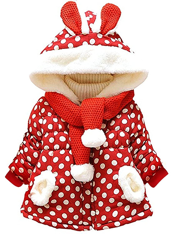 Garsumiss Baby Girls Coat Winter Warm Hooded Fleece Jacket Rabbit Ears Toddler Clothes GA70401