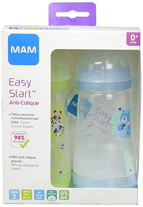 MAM - Kit de 2 biberones de plástico, 260 ml, color azul (5442889)