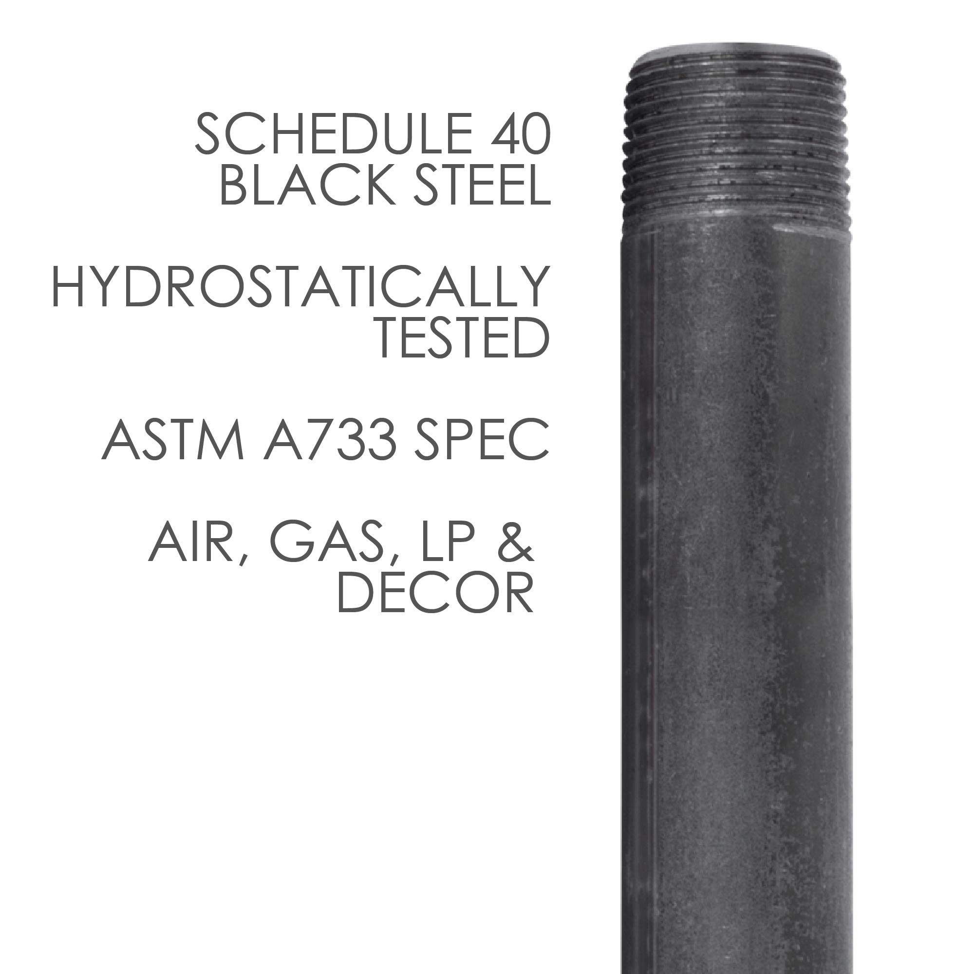 Pipe Decor 3/4'' x 24'' Malleable Cast Iron Pipe, Pre Cut, Industrial Steel Grey Fits Standard Three Quarter Inch Black Threaded Pipes Nipples and Fittings, Build Vintage DIY Furniture, 4 Pack by PIPE DÉCOR (Image #5)