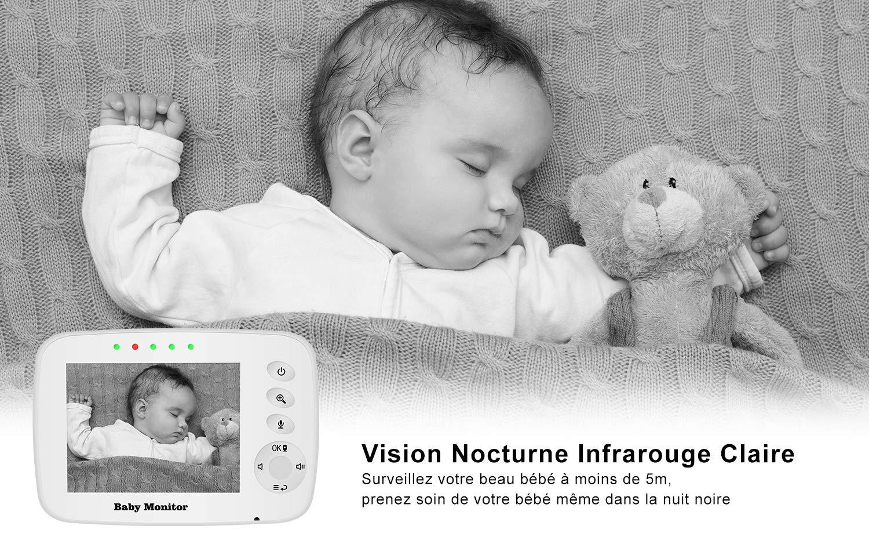 Capteur de Temp/érature Voix Bidirectionnelle Berceuses Tresbro Babyphone Cam/éra Surveillance Num/érique sans Fil Zoomable Nouveau n/ée Ecoute B/éb/é avec 3.2 LCD Vision Nocturne Moniteur B/éb/é